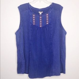 Lucky Brand denim style embroidered tank 288